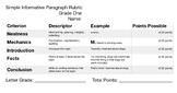 Simple Informative Paragraph Rubric Grade One
