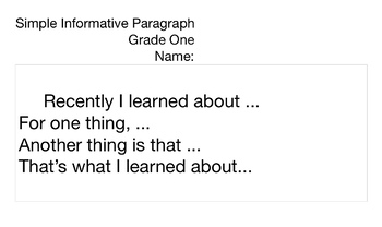 Simple Informative Paragraph Template Grade One