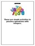 Simple Integers Activities