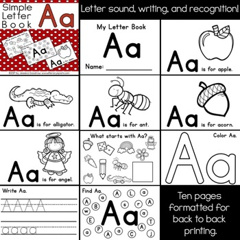 Simple Interactive Letter Book - Letter A