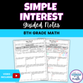 Simple Interest 8th Math Guided Notes TEKS 8.12D