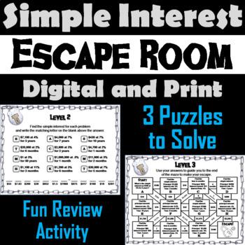 Simple Interest Activity: Escape Room Math