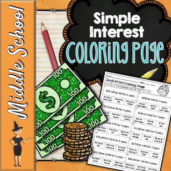 SIMPLE INTEREST MATH COLOR BY NUMBER, QUIZ
