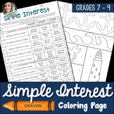 Simple Interest Coloring Worksheet