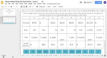 Simple Interest DIGITAL Drag and Drop Activity for Google Drive™