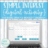 Simple Interest DIGITAL Activity for Google Drive and OneDrive Distance Learning