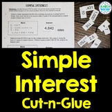 Simple Interest - Engaging Cut-and-Glue Activity: 7.RP.3