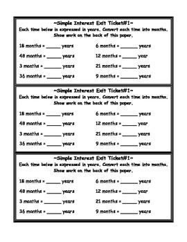 Simple Interest Exit Ticket with Answer Key