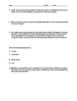 Simple Interest Guided Practice and Quiz