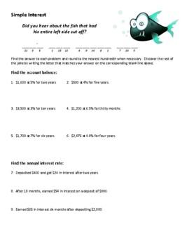 Simple Interest Joke Worksheet