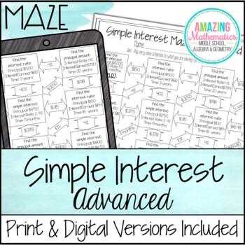 Simple Interest Maze ~ Advanced Worksheet by Amazing Mathematics