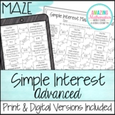 Simple Interest Maze ~ Advanced Worksheet