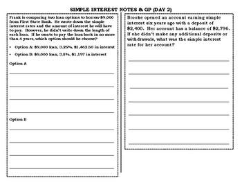 Simple Interest Notes & GP-Day 2 TEK 8.12D