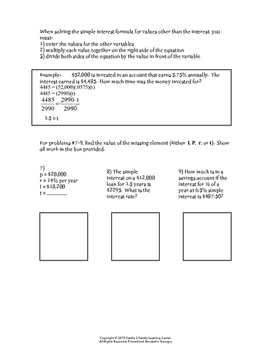 Simple Interest Practice Worksheet