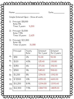 Simple Interest Quiz - Key Included - 20 Questions
