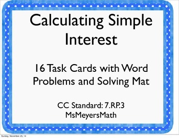 Simple Interest Rate Task Cards and Solving Mat