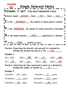 Simple Interest Scaffolded/Guided Notes with Answer Key