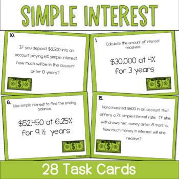 Simple Interest- Set of 28 Task Cards