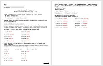 Simple Interest- Simple Interest Pre-requisites Worksheet Activity