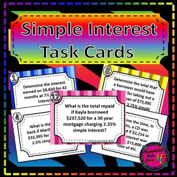 Simple Interest Task Card Set - Great unit or STAAR Review