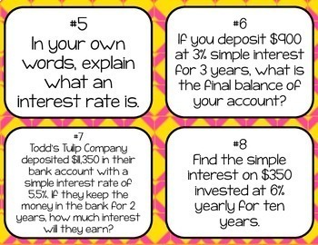 Simple Interest Task Cards