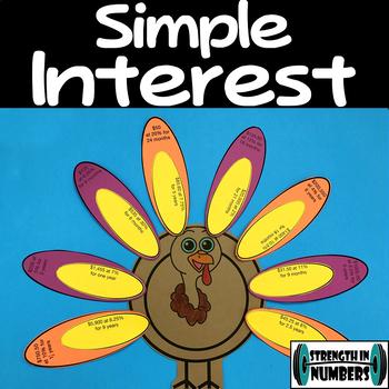 Simple Interest Thanksgiving Turkey Cooperative Puzzle Activity