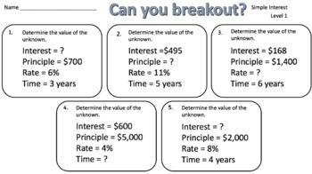 Simple Interest – Two Breakout Activities!