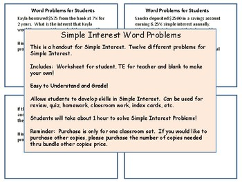Simple Interest Word Problems