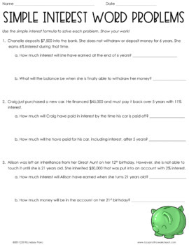 Worksheets Simple Interest Word Problems Worksheet simple interest word proble by lindsay perro teachers pay problems worksheet
