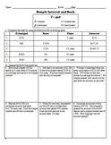 Distance Learning - Simple Interest Worksheet