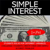 Simple Interest Worksheet - Harry Potter Names