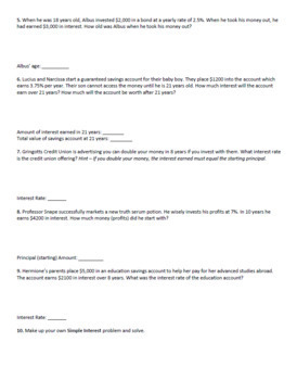 Simple Interest Worksheet - Harry Potter