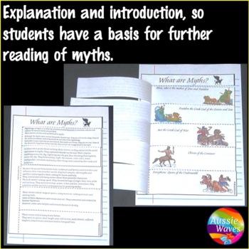 Simple Introduction to GREEK MYTHOLOGY Explanation and Worksheets