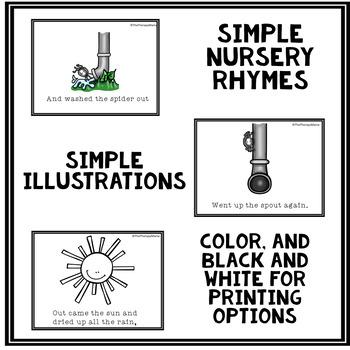 Simple Itsy Bitsy Spider Nursery Rhyme Cards Book No Prep  #spedislucky
