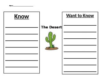 Simple KWL Chart for Desert