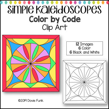 Simple Kaleidoscope Designs Color by Code Clip Art