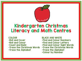 Simple Kindergarten Christmas Math and Literacy Centres