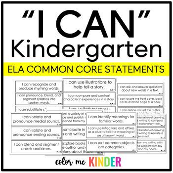Common Core Kindergarten ELA I Can Statements