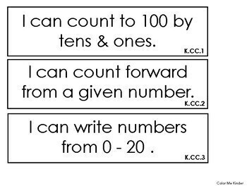"Simple Kindergarten Common Core Math ""I CAN"" Statements"