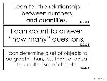Common Core Kindergarten Math I Can Statements