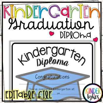 Simple Kindergarten Graduation Diploma with EDITABLE file