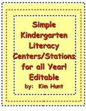 Simple Kindergarten Literacy Centers/Stations for all Year Free