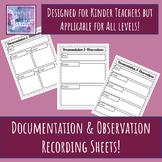 Simple Kindergarten Observation & Documentation Sheets