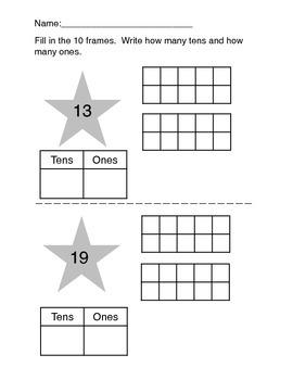 Simple Kindergarten Place Value Worksheets, Taking Apart N