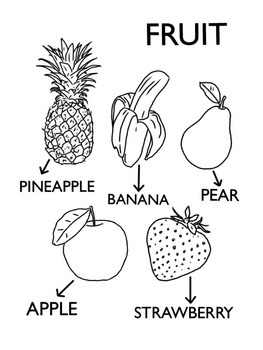 Simple Labelled Fruit Selection Colouring Page Worksheet
