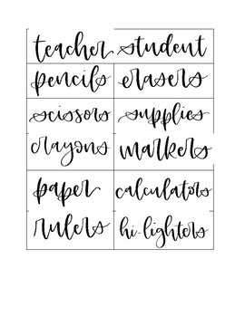 Simple Labels for Classroom Supplies