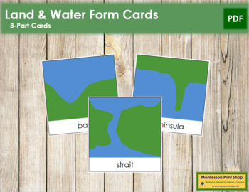 Simple Land and Water Forms: 3-Part Cards