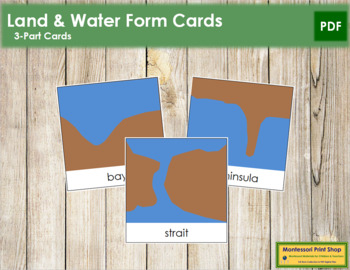 Simple Land and Water Forms: 3-Part Cards (blue/brown)