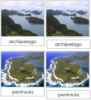 Simple Land and Water Forms: Photo 3-Part Cards