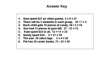 Simple Language Word Problem Task Cards